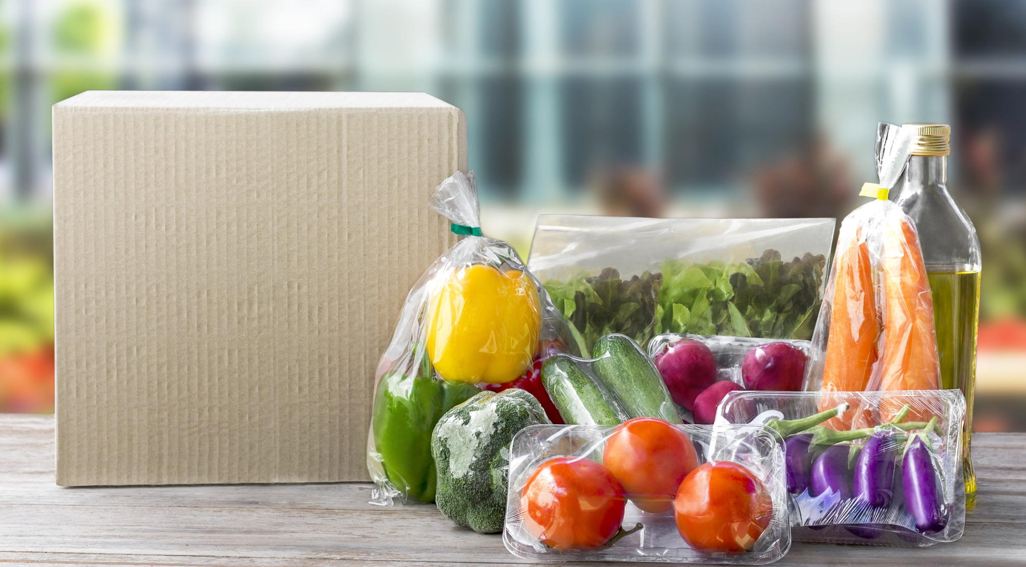 Fresh Food Delivered Weekly Vegetable delivery at home online order for cooking and packages box with blank for text. on wooden table background. ID 100319858 © Arisa Thepbanchornchai | Dreamstime.com