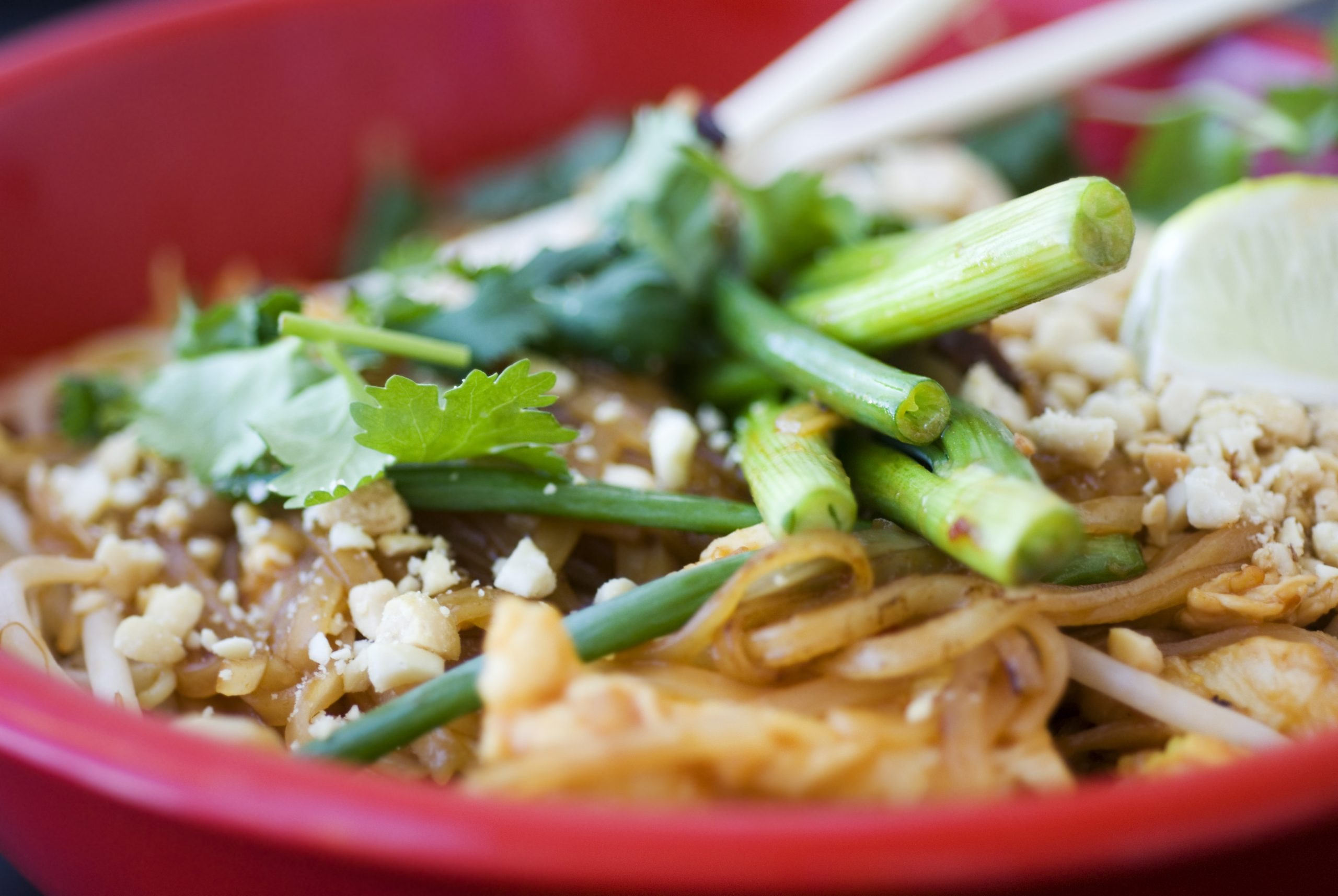 Delicious Asian Pad Thai noodles vegetables.