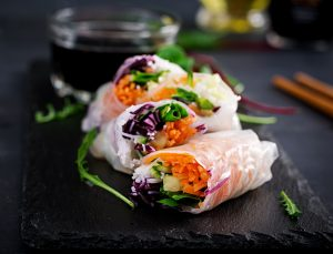 Vegetarian Vietnamese spring rolls with sauce, carrot, cucumber, red cabbage and rice noodle. Vegan food. Tasty meal. ID 138331409 © Olena Danileiko   Dreamstime.com